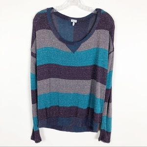 Splendid Sparkle Stripe Long Sleeve Tee Medium